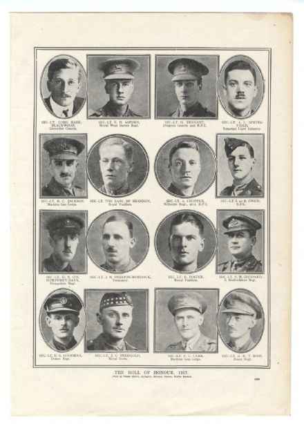 1918 WW1 Officers Killed HUMPHREY-DAVY Aspden TREDGOLD Earl Shannon CROPPER (559
